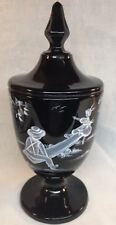 Fenton Art Glass Hand Painted Mary Gregory On Black Candy Dish Limited To 1250.