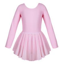 Girls Classic Long Sleeve Leotard Dance Ballet Dress Strappy U back Dancewear