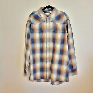 Roper Western Pearl Snap Shirt Mens XLT XL Tall Plaid New Long Sleeve Blue / Tan