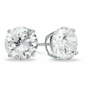 10mm Simulated Diamond Stud Earrings 14K White Gold Over Sterling Silver