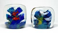 Vintage Murano Sommerso Glass Aquarium Paperweight Pair 1960s