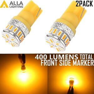 Alla Lighting 2x T10 Amber Yellow LED Side Marker Lights Bulbs 194 168 2825 W5W