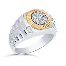 Plata & 14 Quilates Oro Amarillo Acanalado Engaste 1/4 CTW Diamante Hombres