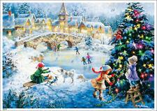 """Adventskalender """"Kinder beim Schlittschuhlaufen"""" A4 Nicky Boehme Glitter Korsch"""