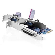 2 Port RS 232 RS232 Serial Com Parallel DB25 PCI-e Express PCIe Card Karte