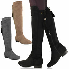 Synthetic No Pattern Zip Over Knee Women's Boots