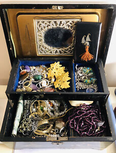 Vintage And Antique Box Of Jewellery , Silver , Skull , Brooches Earrings Ect