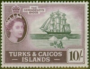 Turks & Caicos Is 1957 10s Black & Purple SG250 V.F MNH