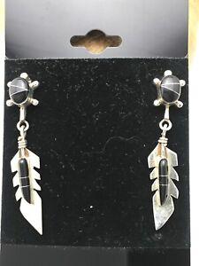 """Navajo Sterling Silver Black Onyx  Earrings 1"""" 4438"""
