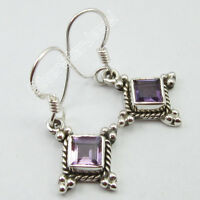 """TRADITIONAL Sterling Jewelry, 925 Pure Silver Authentic AMETHYST Earrings 1.2"""""""