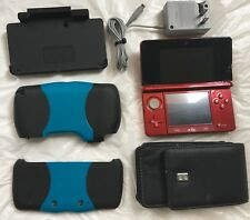 Nintendo 3DS Red Handheld System, Traveling case, Battery Protector