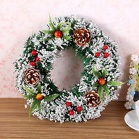 40CM Hanging Christmas Wreath Garland Xmas Party Bar Ornament Wall Decoration US