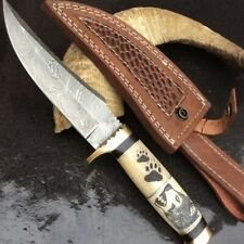 STAG_CUSTOM HAND FORGED DAMASCUS HUNTING KNIFE MD-KN000100 With ENGRAVED HANDLE