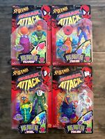 Spiderman Sneak Attack Bug Busters Figures Lot Complete Set Of 4 New Toybiz 1998