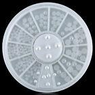 Fashion White Half-round Pearl Rhinestones Nail Art Manicure Decor Tips Wheel
