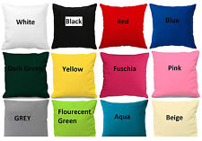 """Plain Cotton Cushion Cover 10"""" to 24"""" Sizes Available * More than 25 colours"""