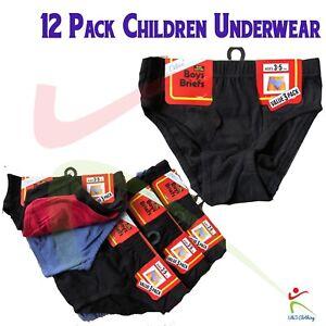 6 12 PACKS Boys Slips Briefs 100% Pure Cotton Soft Regular Underpants Underwear