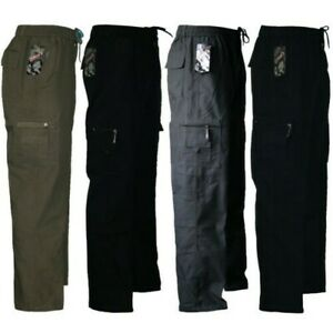 Mens Trousers Elasticated Fleece Lined Cargo Combat Work Pants Cotton Bottom New