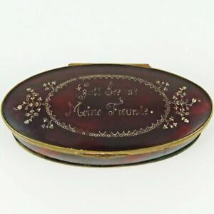 """ANTIQUE GERMAN """"GOD BLESS MY FRIENDS"""" SILVER & GOLD INLAID SHELL GILT SNUFF BOX"""