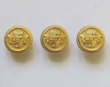 Gold Metal Crest Coat, Blazer, Cardigan Buttons 9 x Shank Back 20mm Wide