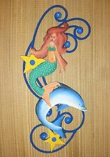 "HAND PAINTED METAL & IRON BARS  ART MERMAID WITH DOLPHIN 15.5"" HIGH BY 9"" WIDE"