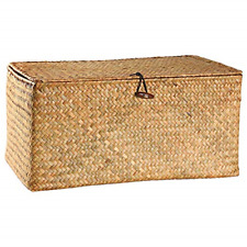 Rectangular Handwoven Seagrass Small Storage Basket with Lid Home Organizer Bins