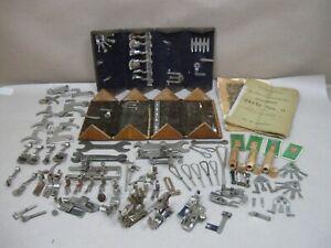 Antique Singer Treadle Sewing Machine Puzzle Box Lot Attachments Bobbins Tools &
