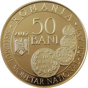 ROMANIA 50 bani 2017 Brass coin ROMANIAN Rumänien PROOF Monetary SYSTEM CAROL