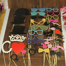 44Pcs Photo Booth Props Lips Moustache On Stick For Wedding Party Decoration DIY