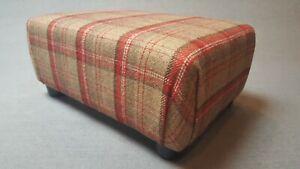 Footstool / Small Stool /  Edderton Cranberry Thick Wool Effect Tartan