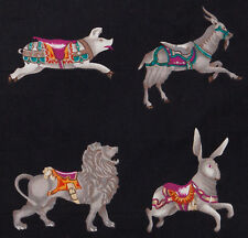 2 metre Animals Wearing Saddles Pig Lion Dog Tiger Hare on Black Quilt Fabric