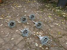 Vintage Explosion Proof Soviet Caged Industrial Light Fixtures Lot x 6ps.
