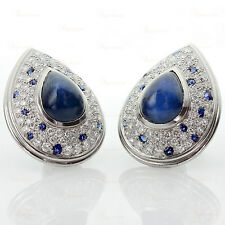 RARE! CARTIER Panthere Platinum Diamond Star Blue Sapphire Clip-On Earrings
