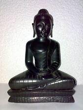 Sitzender Buddha Sitting Holz Wood schwarz black H: 23 cm Gauthama Age unknown *