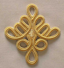 "4 Hand-Embroidered Appliques. Gold Bullion. Celtic Knot  3¼ "" x 3"" DIY sewing"