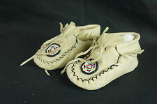"Native American Beaded Baby Handmade Moccasins Soft Soled 5.5"" [Y8-W6-A9]"