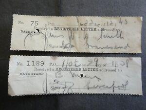 2 MALTA 1939/43 REGISTERED LETTER RECEIPTS