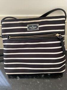 Kate Spade Black And White Stripped Cross Body Bag