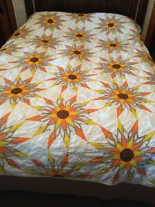 Quilt Cutter Sunflower Starburst Sun Brown Orange White Cotton Handmade Hand Qui