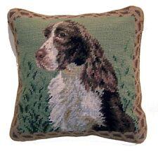 """Springer Spaniel Dog Needlepoint Pillow 10""""x10"""" NWT"""