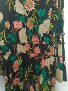 Black Dress with lovely vibrant bright flowers.  Wrap design. Size 24.