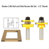 "Shaker 2 Bit Rail and Stile Router Bit Set - 1/2"" Shank - Yonico 12249"