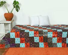 Vintage Handmade Cotton Kantha Quilt Bedspread Mandala Patchwork Coverlet Throw
