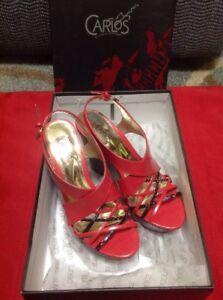 Carlos Santana Coral Red Wedge Slingback Sandals Shoes 6M