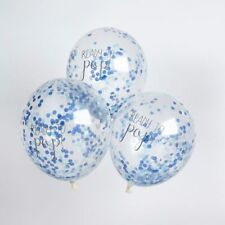 PASTEL BLUE LARGE CONFETTI FILLED READY TO POP BALLOONS 5 PACK BABY SHOWER BOY