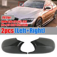Carbon Fiber Mirror Cover Caps For BMW E90 E91 E92 E93  Pre-LCI 323i 325i  328i