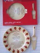 Premier Quality Christmas Gingerbread Man Cake Plate And Server & Receipe 30cm