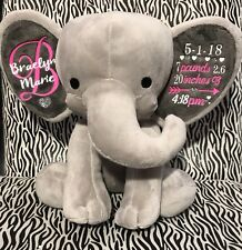 Baby Birth Stats Elephant, baby birth announcement elephant, plush Elephant