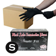 1000 Black Latex Powder Free Medical Exam Tattoos Piercing Gloves - Size Small