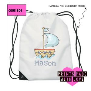 Personalised sailing boat school bag , PE bag , football , ballet , swim bag BO1